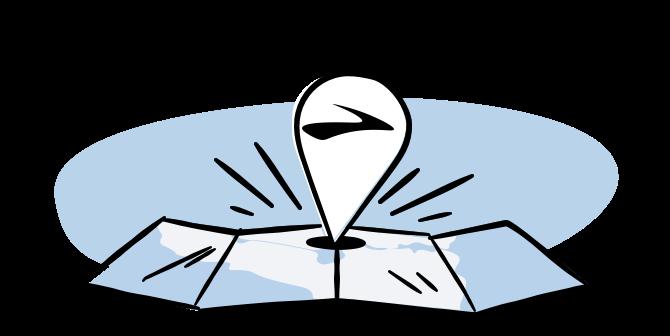 Illustration of a Brooks flag on a map