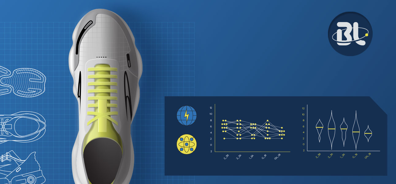 Blueline shoe with graphs