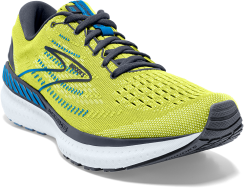 A yellow Brooks shoe