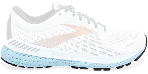 Brooks Adrenaline GTS 21 shoes with only the sole highlighted