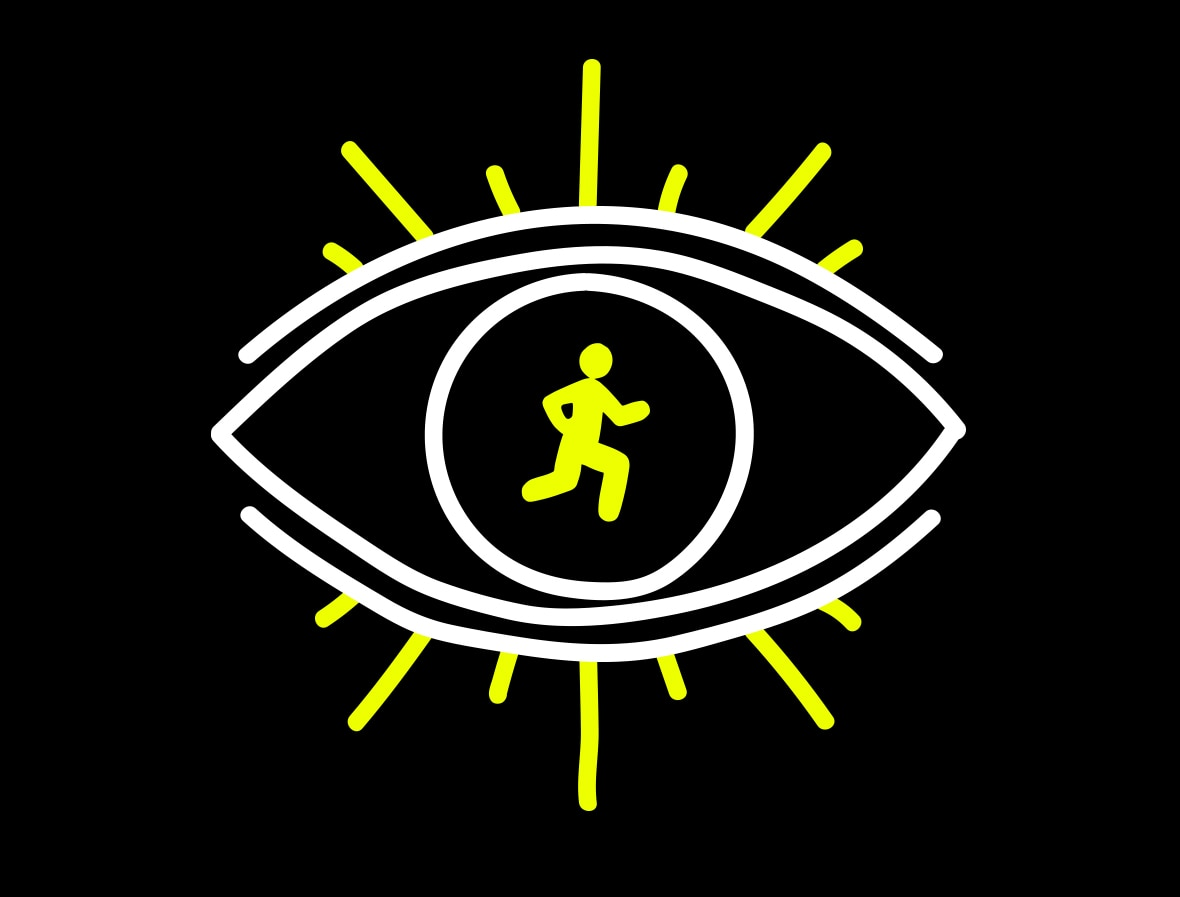 Illustrated eye with a runner in the iris.