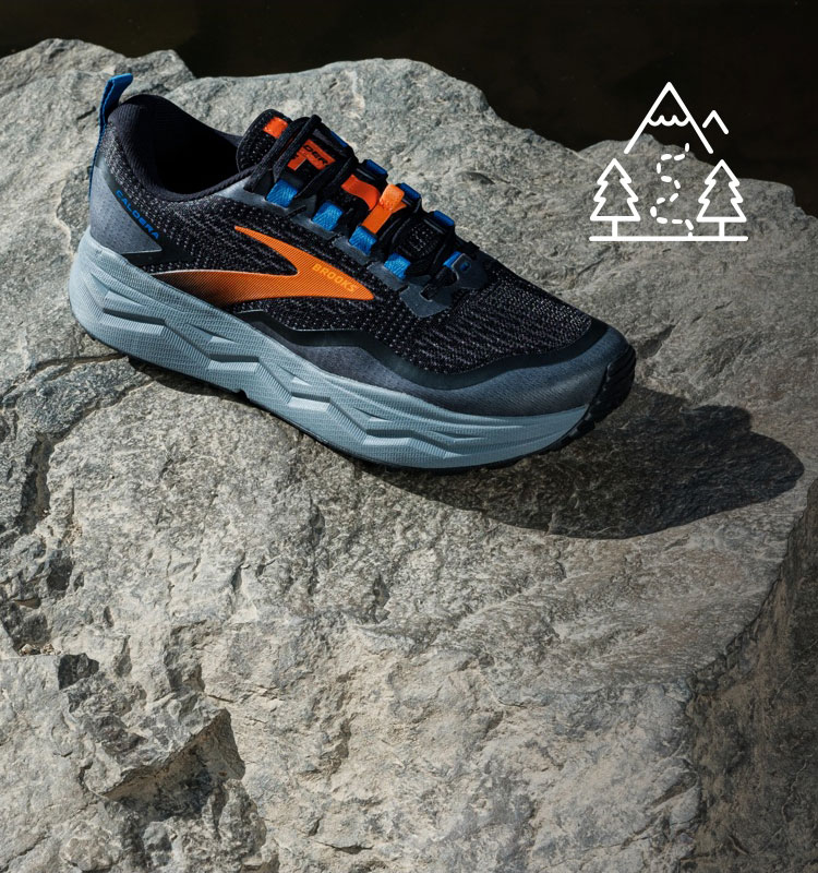 Two runners wearing the Caldera 5 trail shoes