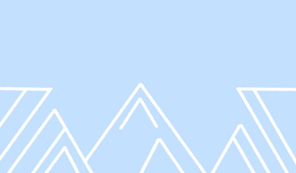 A blue background with white cartoon, geometric mountains drawn on it