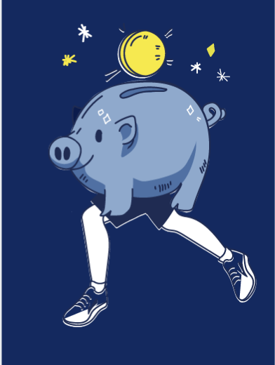 An illustrated piggy bank with legs
