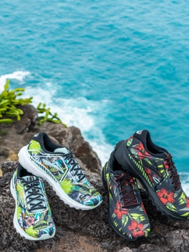 Shoes with a tropical pattern