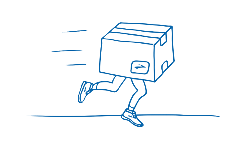 Illustration of a box with legs