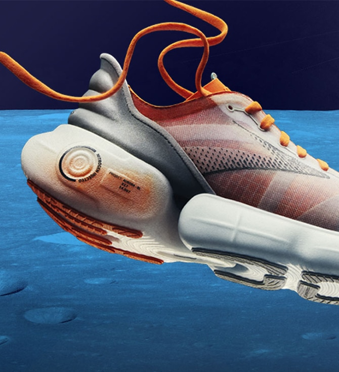 A futuristic shoe floating in space