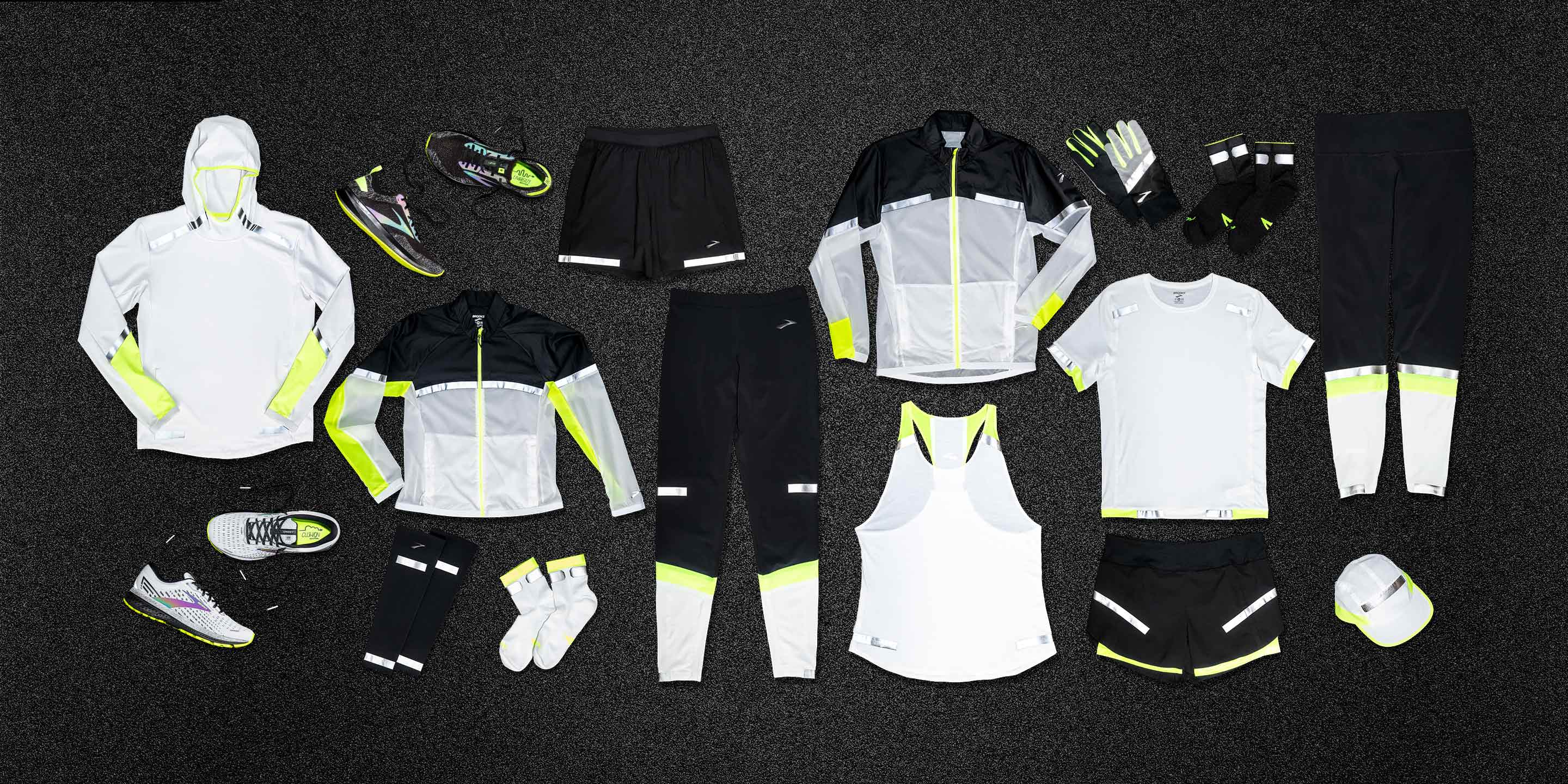 Laydown shot of all the Run Visible apparel together.