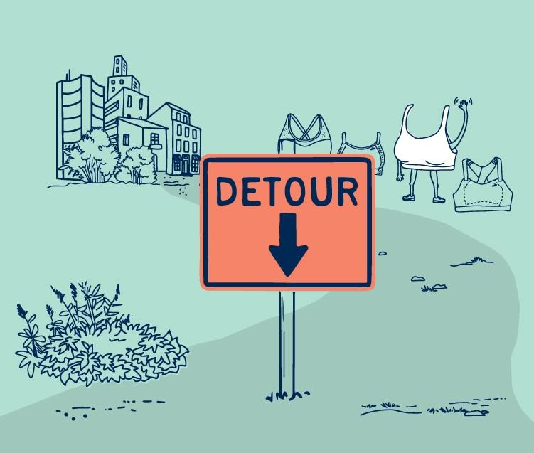 An illustrated detour sign