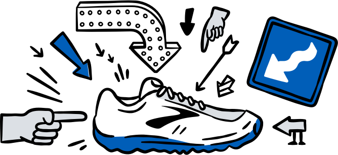 Arrows pointing to an illustration of a shoe