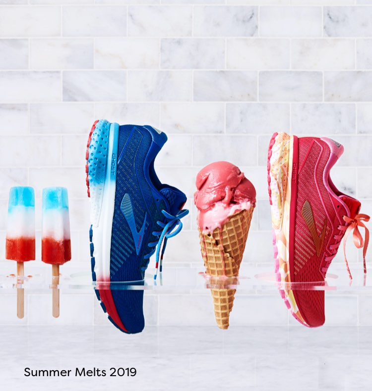 Brooks shoes lined up with ice cream cones