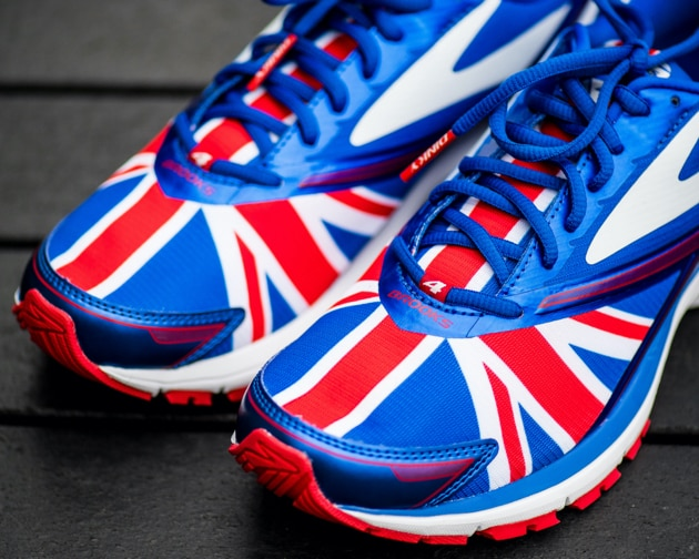 A blue shoe with a Union Jack pattern
