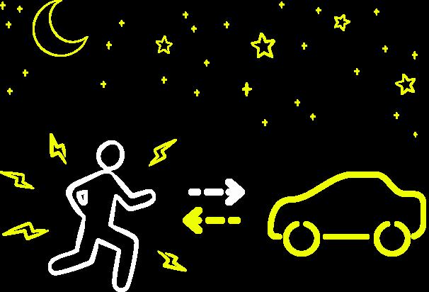 Illustrazione di una persona vista da un'automobile
