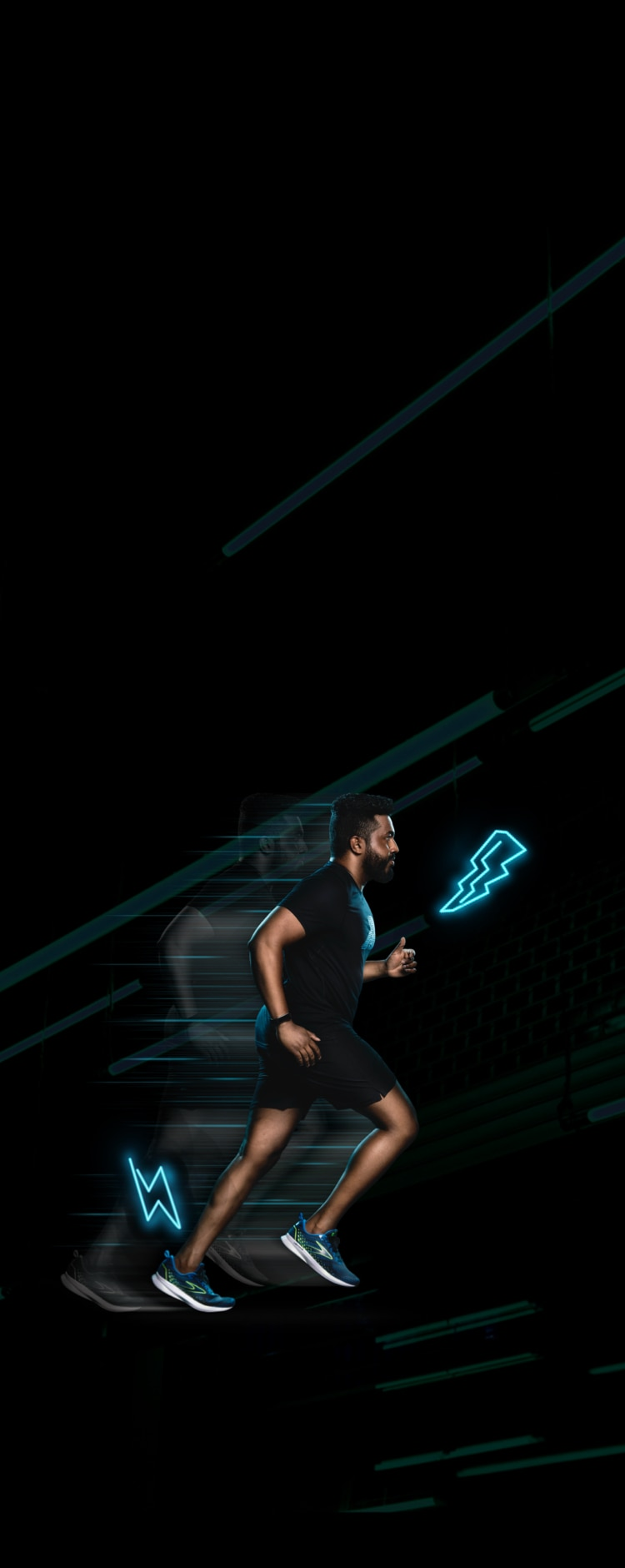A runner in front of a black background