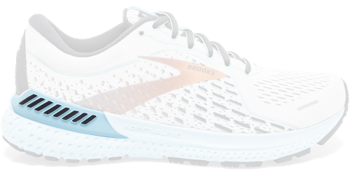 Brooks Adrenaline GTS 21 shoes with only the GuideRails highlighted