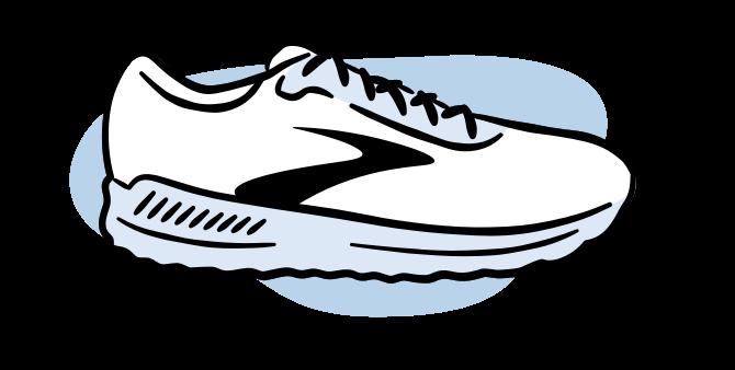 Illustrated walking shoe