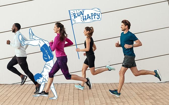 Eine Gruppe von Läufer*innen beim Laufen von der Seite aus gesehen.