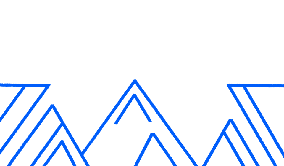 Illustrated mountains drawn in blue