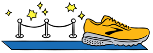 An illustrated running shoe on a blue carpet