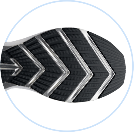 The tread on the underside of a Brooks shoe