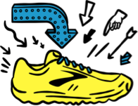 An illustrated running shoe with arrows pointing at it