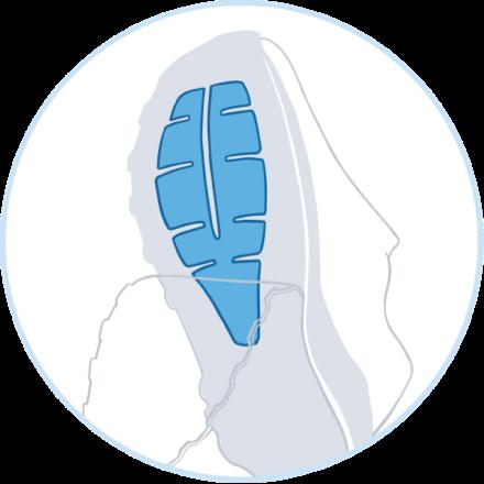 Ilustración del sistema Ballistic Rock Shield en la parte inferior de una zapatilla de montaña Brooks